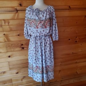 Vintage Unlabeled Multi-Color Floral Dress